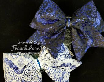 French Lace Royal Blue with Swarovski Crystal Cheer Bow, lace overlay