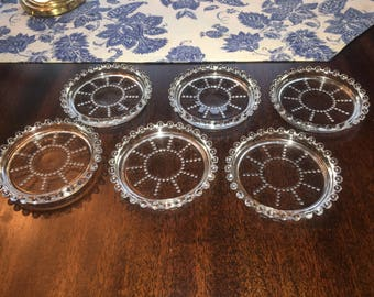 Set of 6 Vintage Candlewick Coasters Imperial Glass Company