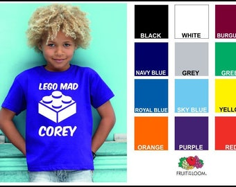 LEGO MAD Personalised T SHIRT Kids Boys Any Name Childrens Gift Customised