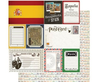 """Spain Set of 7 Custom Selected 12"""" x 12"""" Scrapbook Papers Spanish Themed Travel Vacation Papers - Our Favorites"""