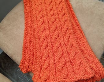 Orange Hand Knitted Cable Scarf, Irish Hiking Scarf