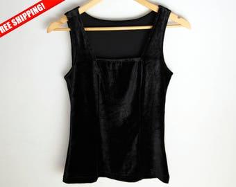 Top velvet, Vintage velvet top, Velvet top tank, 90s blouse, vintage top, 90s, Black velvet top, Black blouse, 1990 blouse, 1990 top