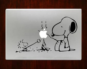 Snoopy Campfire with Peanut Macbook Decal Stickers Mac Pro / Air / Retina Sizes 13 / 15 / 17 Laptop