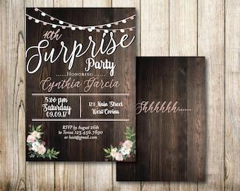 Rustic Suprise 2 Sided Invitation- Digital Invitation