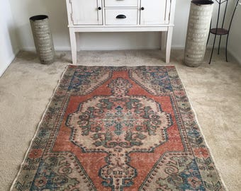 "Vintage Hand Knotted Oriental Authentic Turkish Rug 7'x 4'3"" FREE SHIPPING!!!"