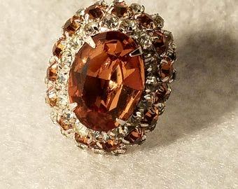 Huge Rhinestone Adjustable Costume Jewelry Ring