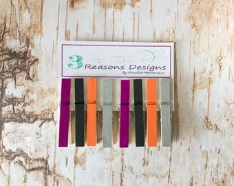 Halloween Clothespins - Halloween Decor - Kitchen Decor - Party Banner - Fridge Magnet - Office Decor - Photo Holder - Card Display