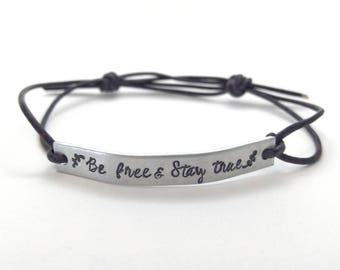 Be free & stay true violet leather bracelet - Inspirational Bracelet - affirmation bracelet - graduation gift for her