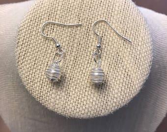 Handmade Dangle Drop Stainless Steel Hypoallergenic Silver Pearl Earrings, Women's Earrings, Silver Earrings, Drop Earrings. Silver Jewelry