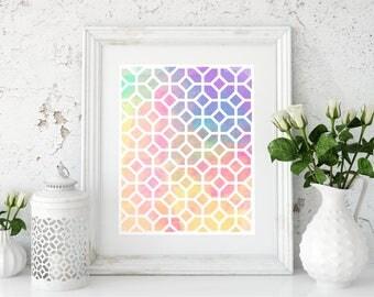 Colorful print. Modern wall decor. Printable Abstract poster. Digital art.
