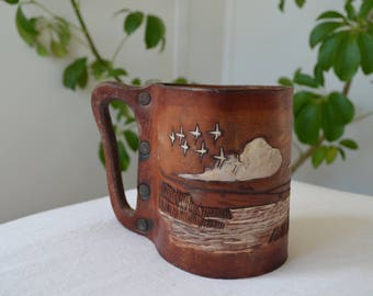 Leather Brown / Tooled Display  / Holder / Handmade / Hand Crafted Cup