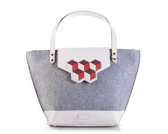 Grey melange felt and leather tote bag with cubic interchangeable flap