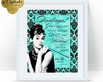 Pearl Necklace Game SHOWER Breakfast at Tiffany's bridal shower games, Audrey Hepburn 8x10.  {Damask + Watercolor Turquoise Blue}