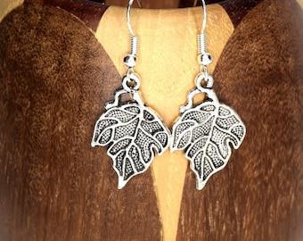 Silver leaves earrings, clip leaves silver