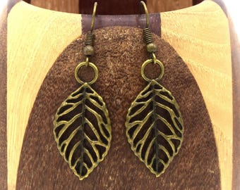 Bronze leaf, antique bronze leaf clip earrings