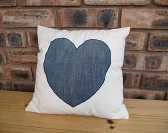 Handmade denim heart cushion
