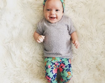 Baby leggings and matching knot bow headband