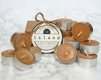 salted caramel scented soy tea lights