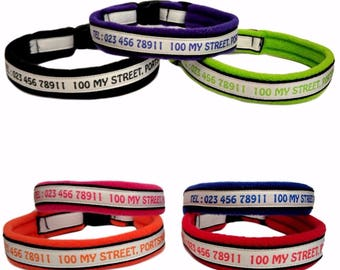 Personalised Dog Collar Fleece Lined. Telephone Number, Address, Town & Postcode