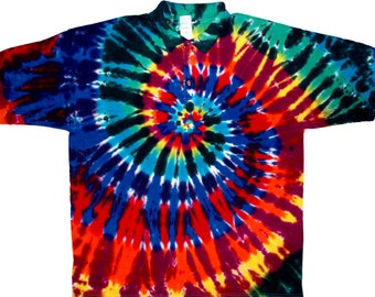 Extreme Rainbow Collared Tie Dye Shirt