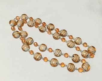Orange striped glass beaded single strand long necklace