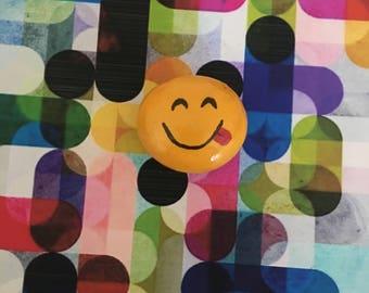 Yum Emoji Handpainted Rock - Refrigerator Magnet / Garden Accent