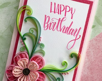 Birthday card/Birthday card for wife/Girlfriend/Quilling art/Quilled card/Flower card/Handmade card