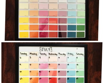 Paint chip swatch sample calendar colorful dry erase