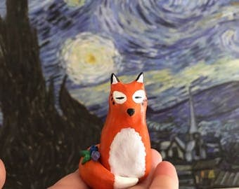 Fox Spirit Totem, Animal Figurine OOAK