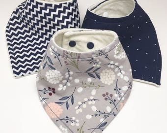 Navy and Grey Floral Bandana Drool Bib Set Baby Bib Baby Shower Gift Bibdana Toddler Bib Teething Baby Baby Girl  Baby Boy