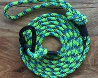 Reflective Lime Carabiner Rope Dog Leash