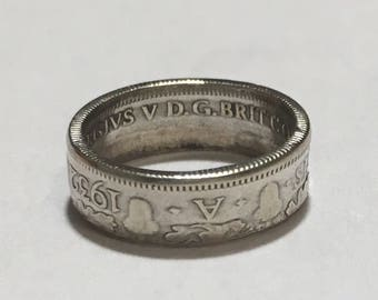 Silver Sixpence Ring 1932