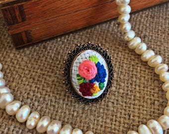 Flower Hand Embroidery Ring/ Floral Ring