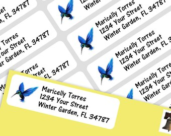 800 Personalized Return Self-adhesive Address Labels - Blue Humming Bird