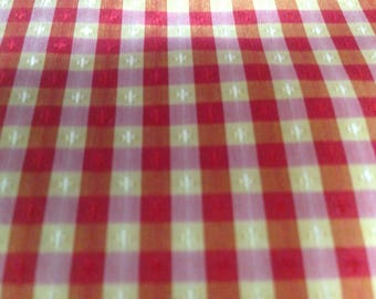 25 yards Checked Red/Gold Silk        #10