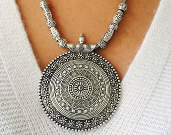 silver,necklace, antique,Indian,ethnic, vintage,handmade,thread necklace, tribal,BOHO,bohemian,pendant necklace