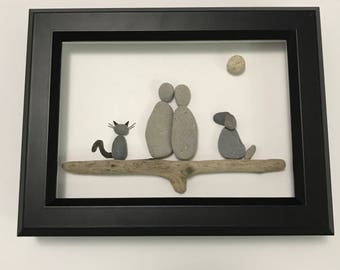 Dog and Cat lover pebble art couple christmas gift huronshoreart birthday gift dog lover gift housewarming gift retirement gift