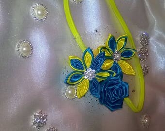 shake head or head band with flower kanzashi way in turquoise and yellow satin ribbon