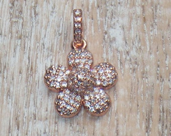 Pave CZ Crystal Rose Gold Flower Charm