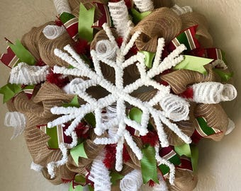 Snowflake Wreath/Christmas Wreath/Winter Wreath/Rustic Wreath/Winter Deco Mesh Wreath