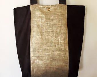 Suedine and gold linen bag