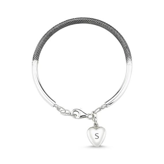 Personalized Bracelet, Initial Bracelet, Bangle Bracelet, Rose Gold Bracelet, Engraved Bracelet, Heart Bracelet, Valentine's Day, For Her