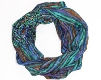 Infinity Scarf, Loop Scarf, Tweed, Digitally printed fabric