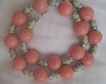 Pink & Green Ceramic Beaded Necklace
