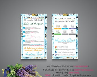 Rodan and Fields Referral Program, Custom Rodan and Fields Marketing, R+F PERSONALIZED, Floral Card RF, Printable RF07