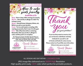Paparazzi Care Instruction, Paparazzi Thank You Cards, Personalized Information, Paparazzi Marketing, Custom Paparazzi Card, Printable PP25