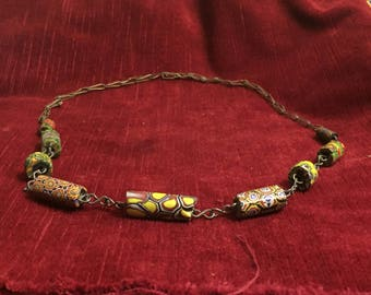 vintage jewelry - old sulfure glass Murano Bead Necklace