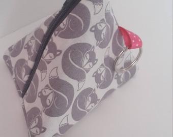 fox fabric pyramid coin purse keyring