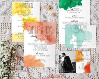Watercolor Wedding Invitation Suite Printable/Cheap Unique Wedding Invitation Suite/ Handwritten Font Wedding Invitation Suite/All In One