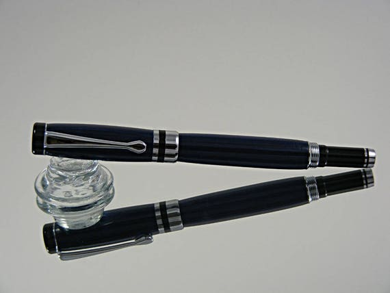 Classic Rollerball Pen in Chrome/Black Enamel and Laminate
